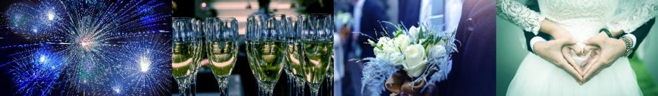 Hochzeits und Partystimmung mit Sekt und Feuerwerk
